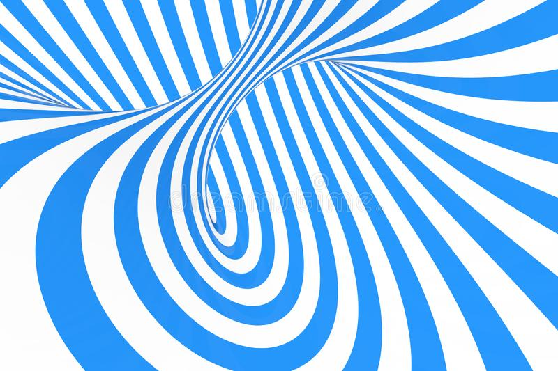 Swirl optical 3D illusion raster illustration. Contrast blue and white spiral stripes. Geometric winter torus image with lines. stock image
