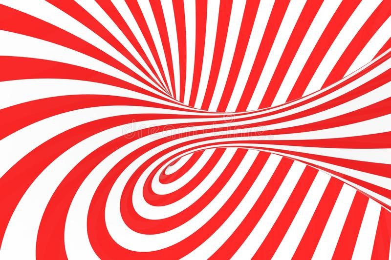 Swirl optical 3D illusion raster illustration. Contrast red and white spiral stripes. Geometric torus image with lines, loops. stock images