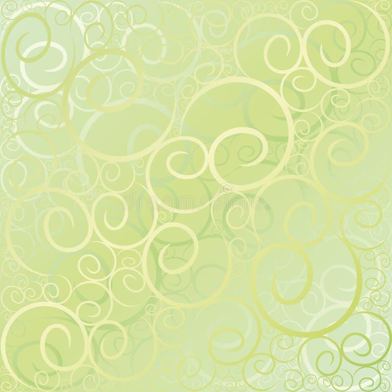 Swirl pattern green gold royalty free illustration