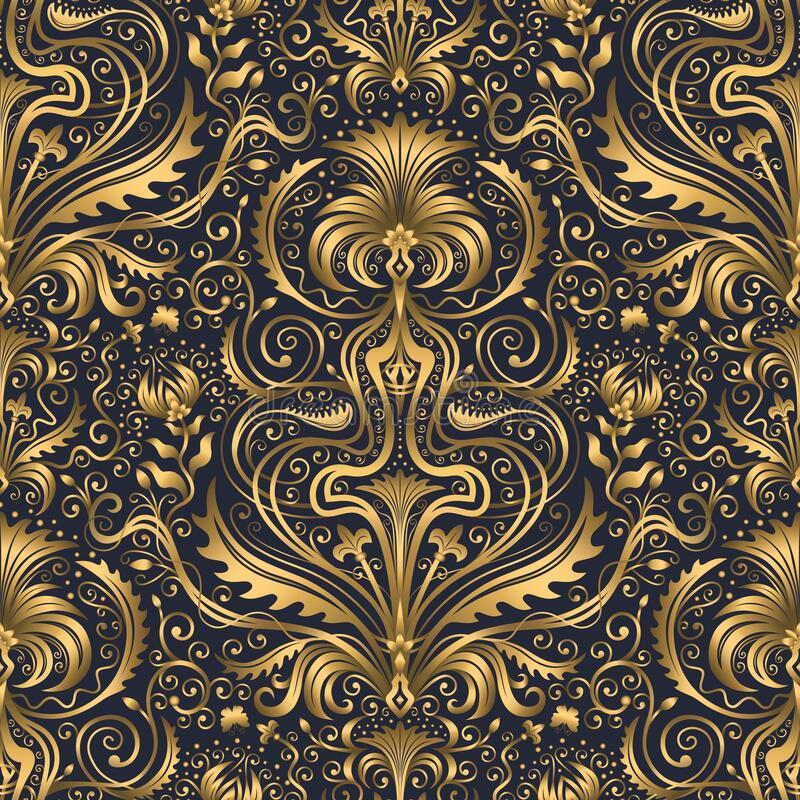 Free Swirl Pattern. Seamless Gold And Navy Blue Ornament. 3D Effect Royalty Free Stock Image - 197933426