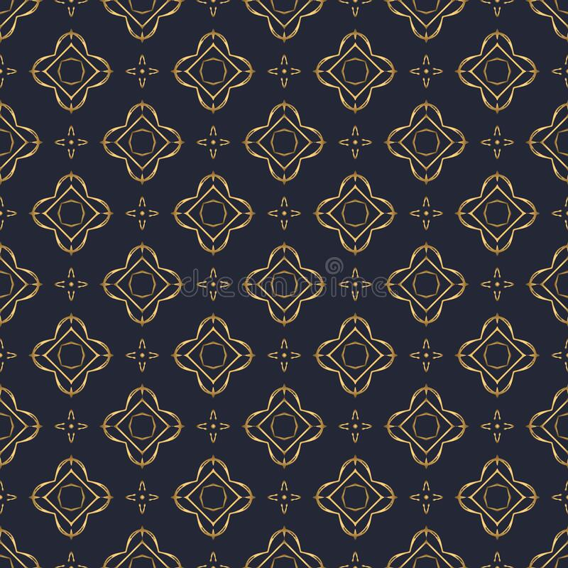 Free Swirl Pattern. Seamless Gold And Navy Blue Ornament. 3D Effect Royalty Free Stock Photography - 197933567