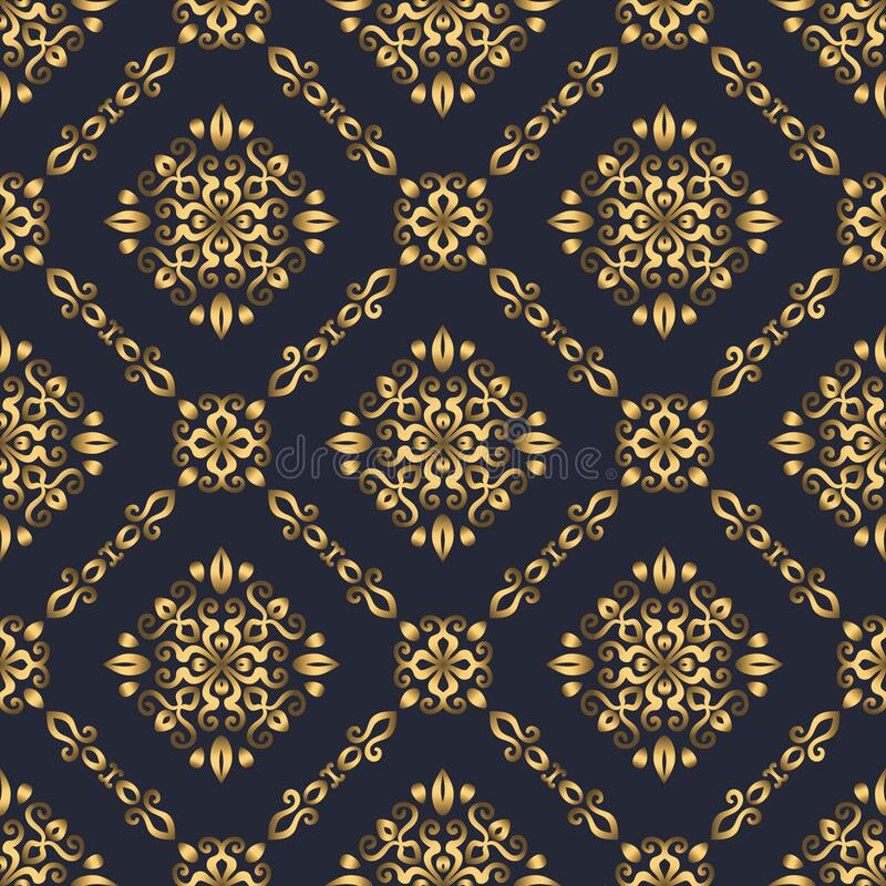 Free Swirl Pattern. Seamless Gold And Navy Blue Ornament. 3D Effect Royalty Free Stock Photography - 197934127