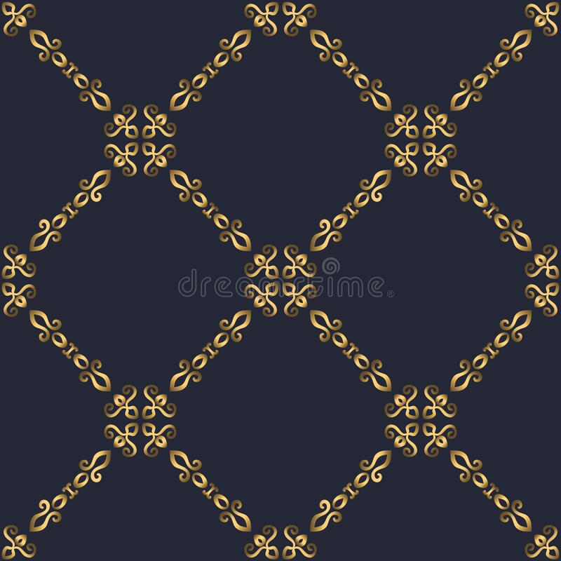 Free Swirl Pattern. Seamless Gold And Navy Blue Ornament. 3D Effect Royalty Free Stock Image - 197934336