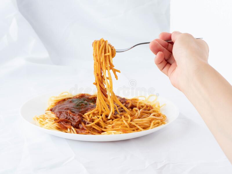 Spaghetti on a fork. stock images