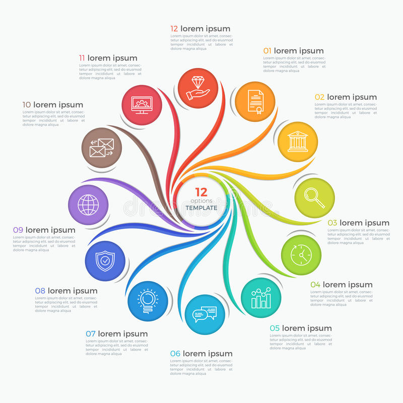 Swirl style infographic template with 12 options. stock illustration