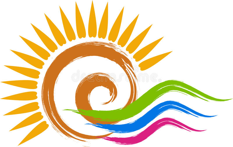 Swirl sun logo. Illustration art of a swirl sun logo with isolated background