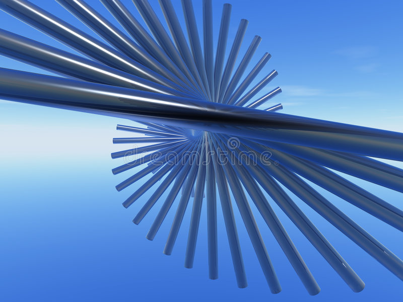 Swirl thing. Abstract swirl thing in the blue sky - 3d illustration vector illustration
