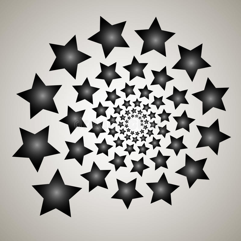 Swirl, vortex background. Rotating spiral. Pattern of a whirling of hearts. Icon, stars, star, outline, black, white vector illustration