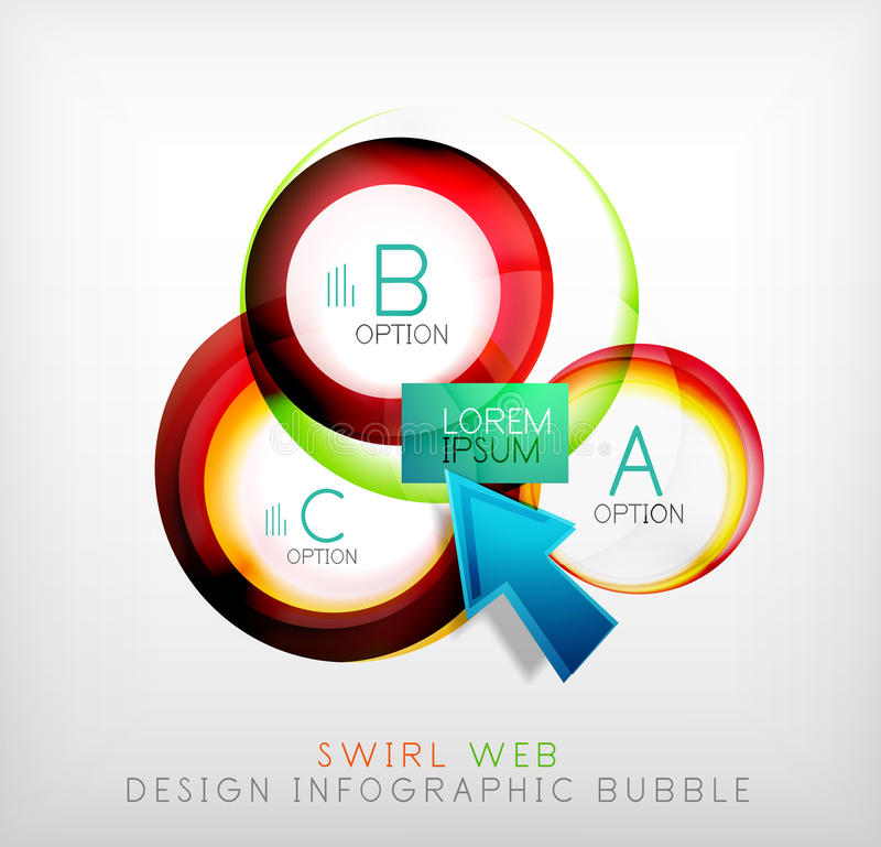 Swirl web design infographic bubble - flat concept. Can be used as web design templates, business illustrations, promotional banners, price tables stock illustration