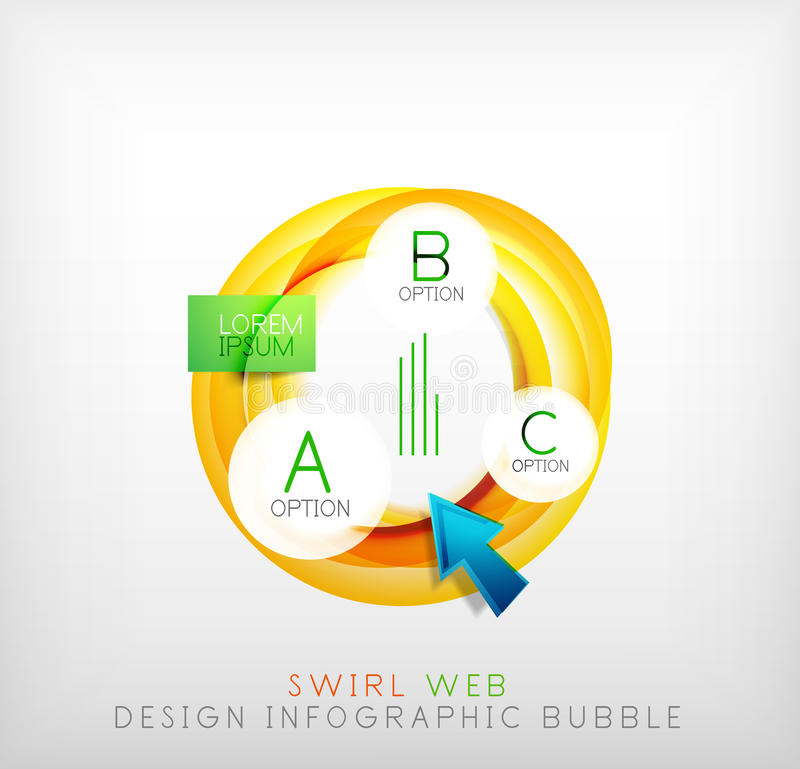 Swirl web design infographic bubble - flat concept. Can be used as web design templates, business illustrations, promotional banners, price tables vector illustration