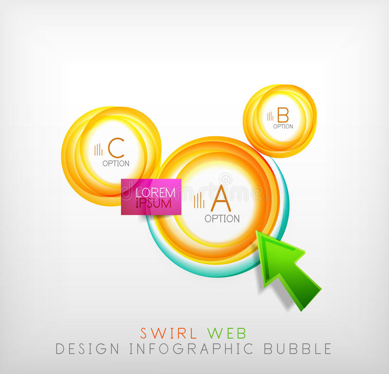 Swirl web design infographic bubble - flat concept. Can be used as web design templates, business illustrations, promotional banners, price tables royalty free illustration