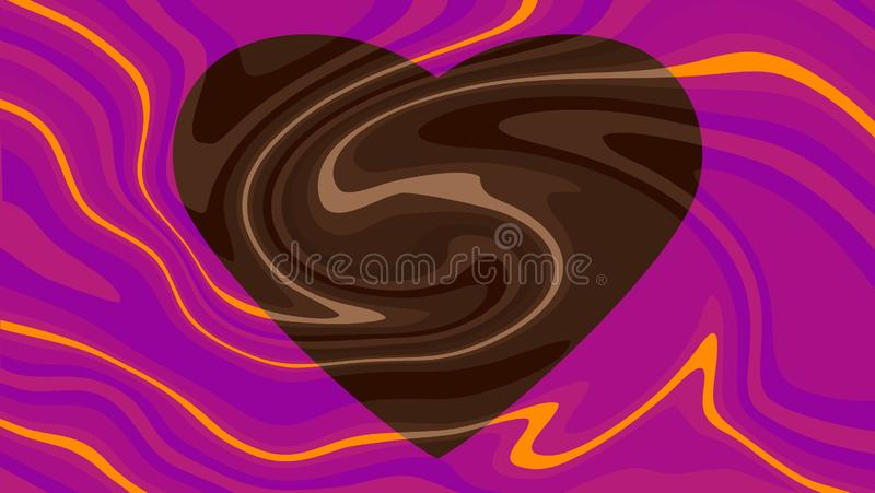 Swirled chocolate heart with orange purple surround love of chocolate panel royalty free illustration