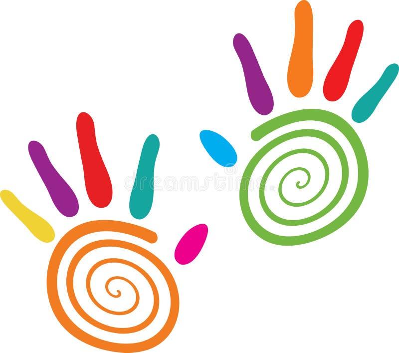 Swirlhänder stock illustrationer