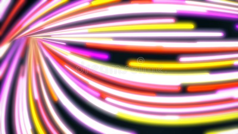 Swirling abstract path with colored lines fast. Animation. Energy channel with swirling twists and turns permeated by. Colorful bright lines that move quickly vector illustration
