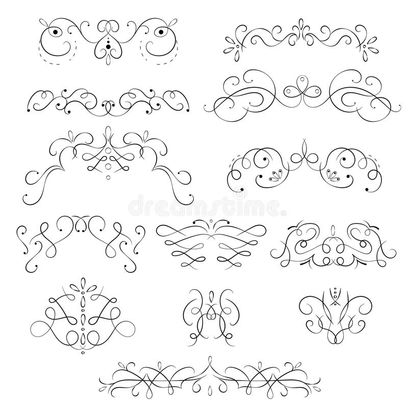 Swirling Floral Elements Black Thin Line Icon Set. Vector vector illustration
