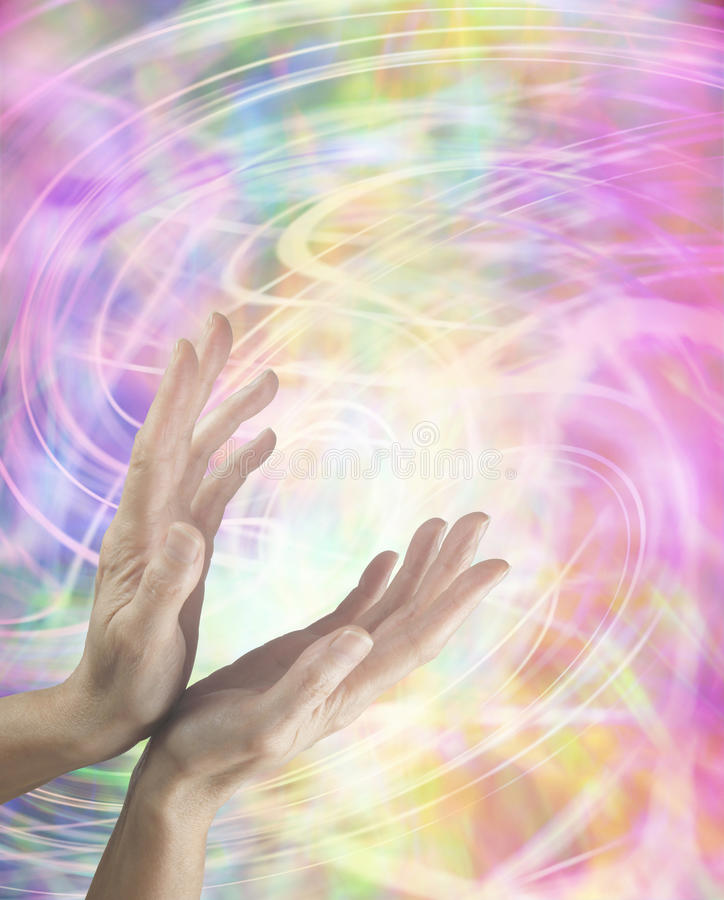 Swirling Healing Energy. Female hands stretched out sending distant healing with colorful swirling energy in background royalty free illustration