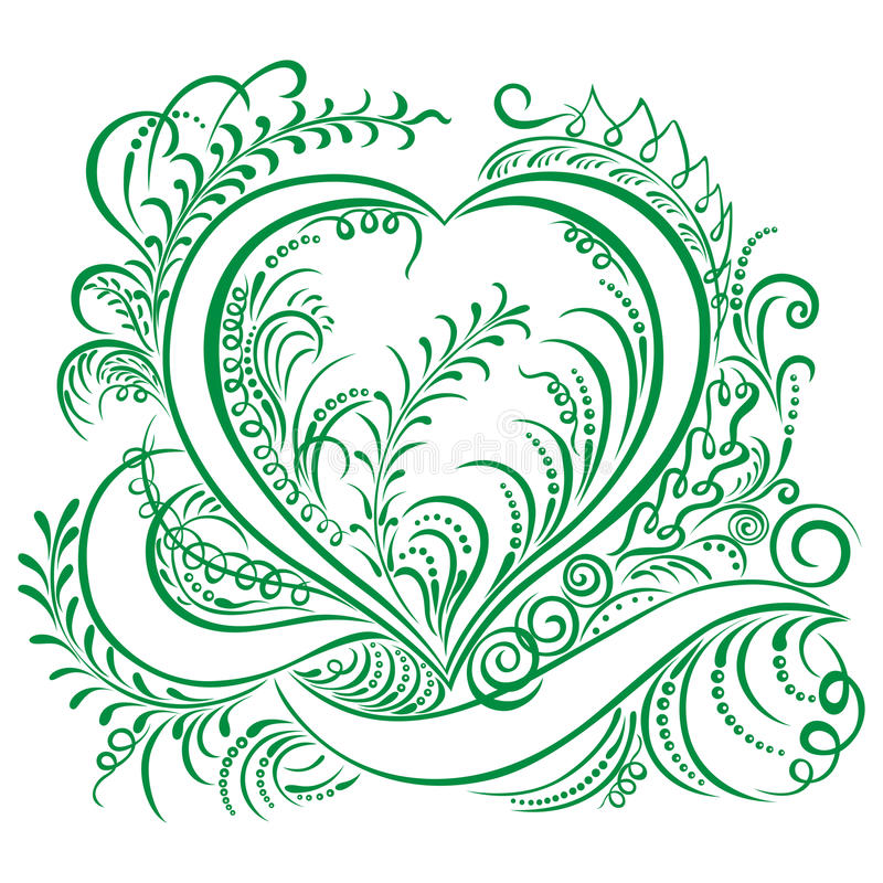 Swirling heart decorative Ecology design royalty free illustration