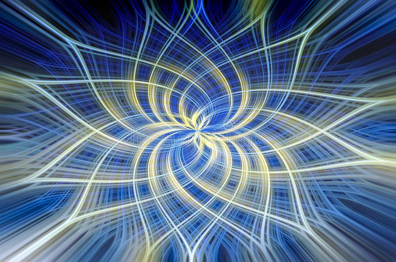Moody Blue and Yellow Swirls Fractal. Swirling and intersecting lines in shades of blue, yellow and white create a moody blue atmosphere in this digital creation royalty free illustration