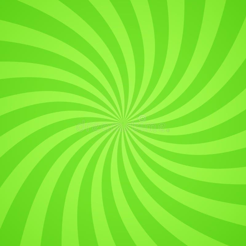 Swirling radial bright green pattern background. Vector illustration stock illustration