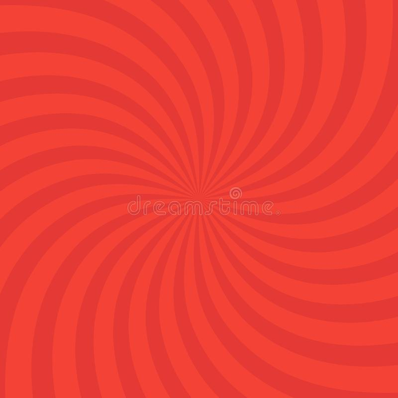 Swirling radial bright red pattern background. Vector illustration for swirl design. Vortex starburst spiral twirl square. Helix. Rotation rays. Scalable vector illustration