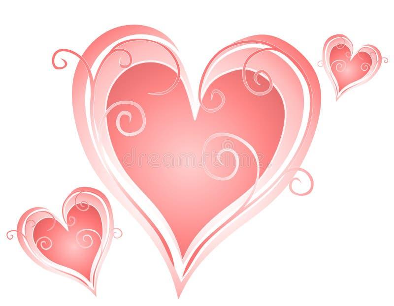 Swirling Valentine's Day Heart Designs 2 stock illustration