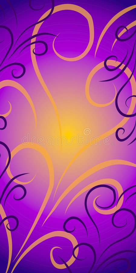 Swirls Background Purple Gold royalty free illustration