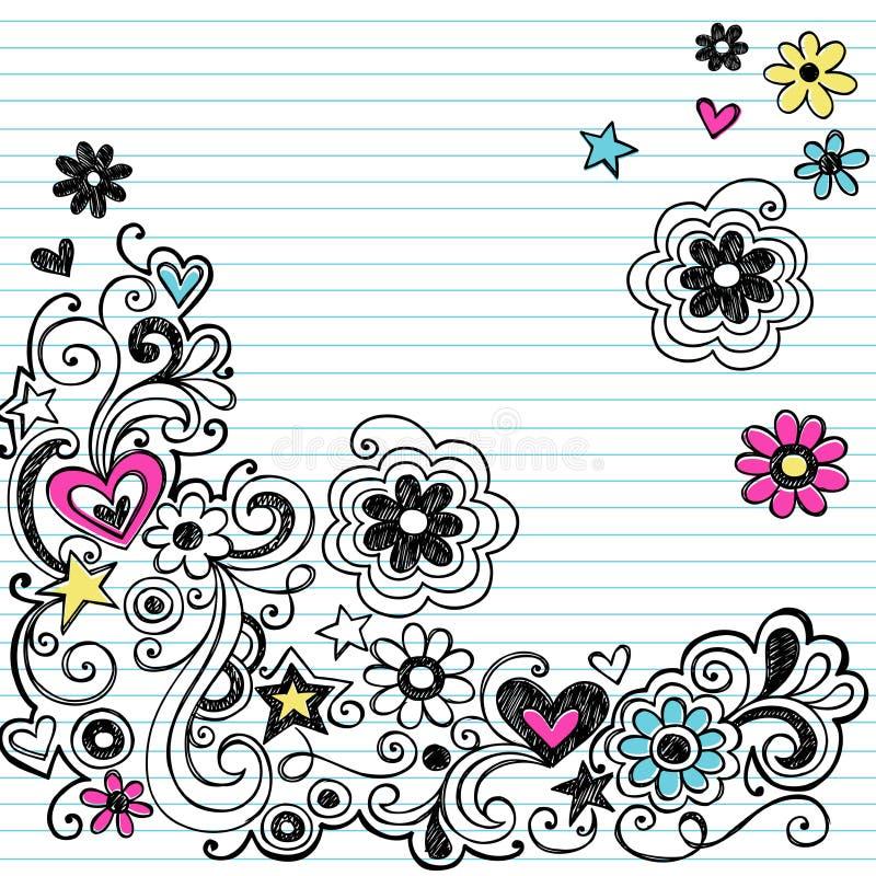 swirls för anteckningsbok för klotterblommamarkör royaltyfri illustrationer