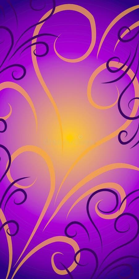 swirls för bakgrundsguldpurple royaltyfri illustrationer