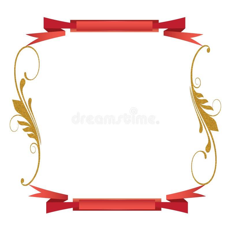swirls för scroll för bakgrundsguld röda arkivfoton