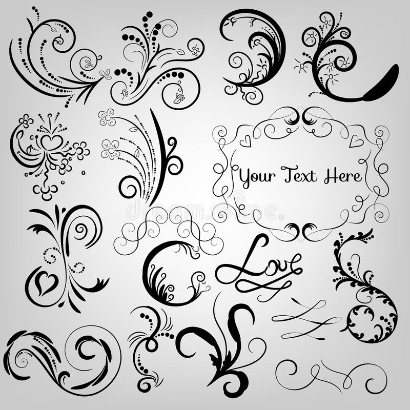 Swirls and floral ornaments royalty free illustration