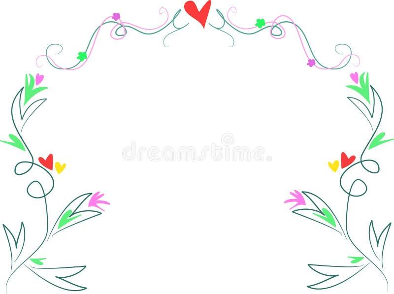 Swirls, Hearts, and Leaf Design vector illustration