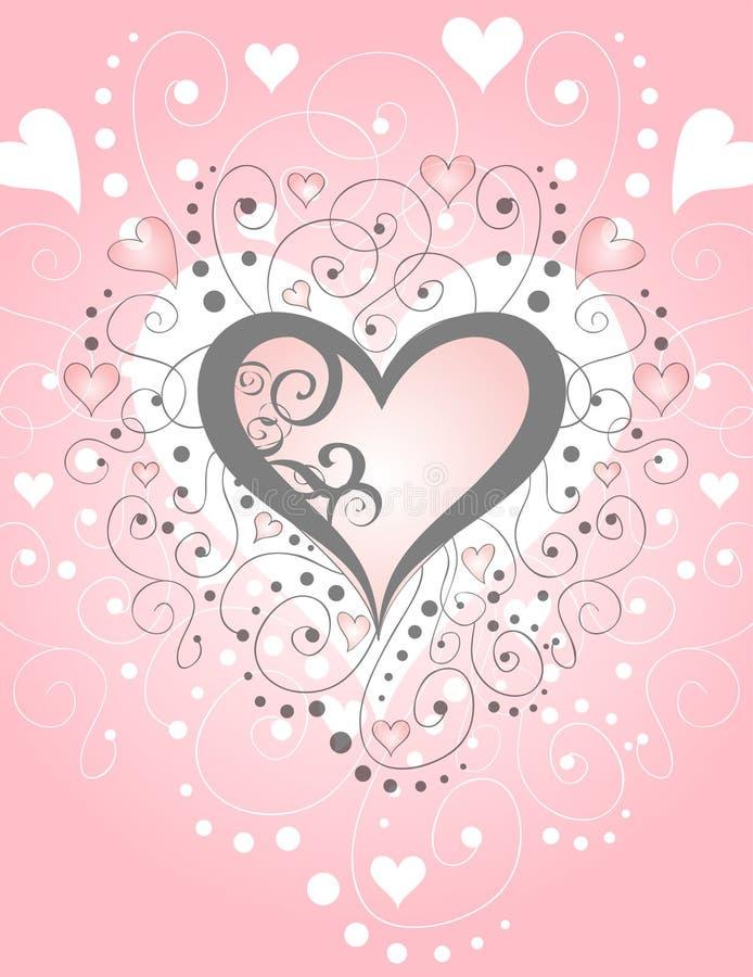 Swirls & Hearts Paper [VECTOR] vector illustration