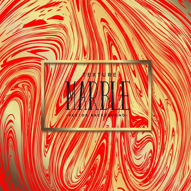 Golden marble texture background with red. stock illustration