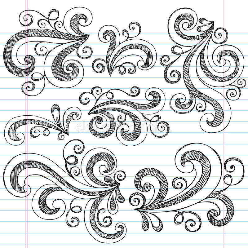 Free Swirls Sketchy Notebook Doodles Vector Set Royalty Free Stock Images - 23971919