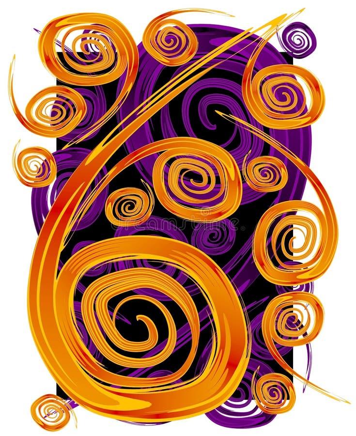 Swirls Spirals Pattern Texture. A freeform abstract texture of orange and purple swirls and spirals on a black background royalty free illustration