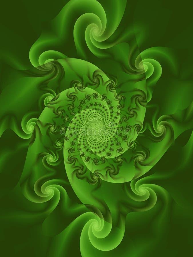 Swirls Spirals Whirlpool Green. A surreal digital art rendering of green silky swirls and spirals stock illustration