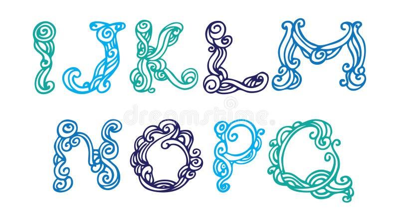Swirly手拉的字体 库存例证