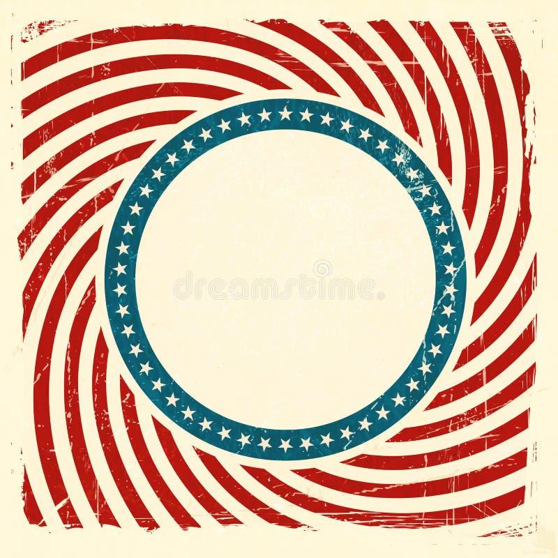 Swirly条纹和星美国难看的东西背景 向量例证