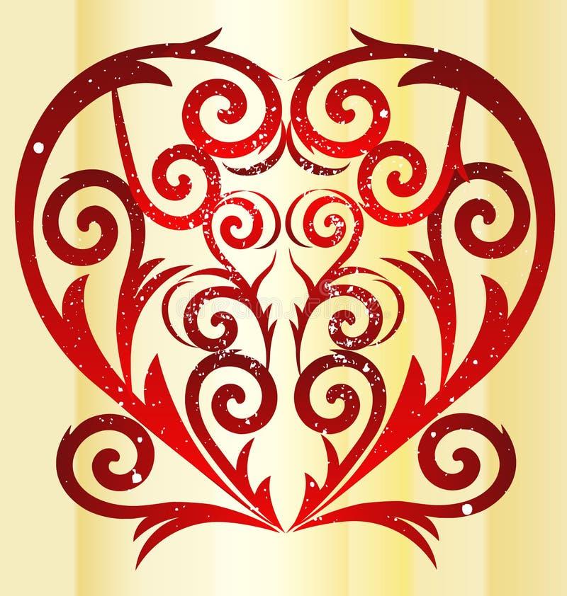 swirly爱红色心脏葡萄酒 库存例证