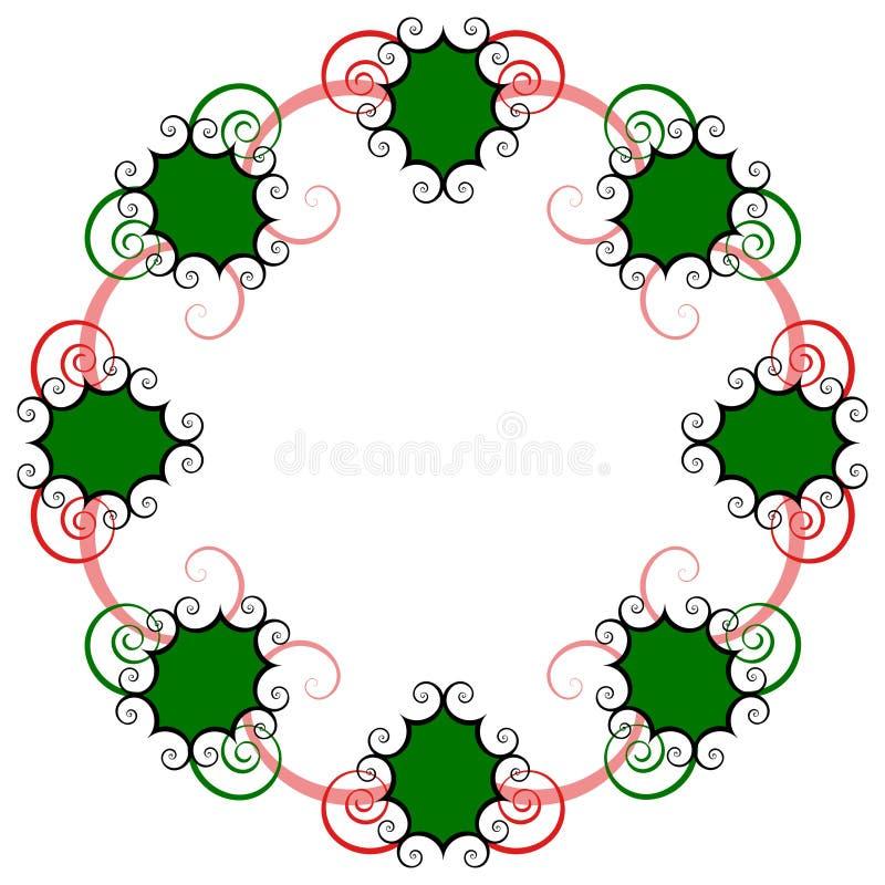 swirly节假日花圈 向量例证