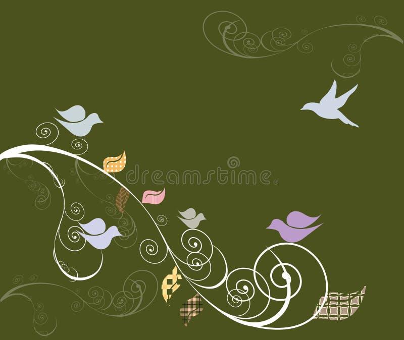 swirly鸟结构树 库存例证