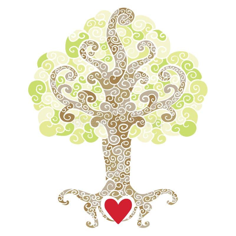 Swirly decoratieve boom met een rood hart stock illustratie