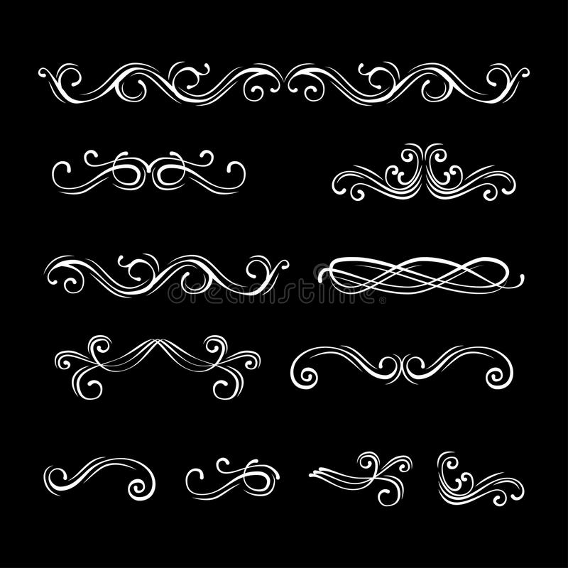 Swirly filigree dividers. Floral lines filigree design elements. Vector. Scroll decorative elements. royalty free illustration