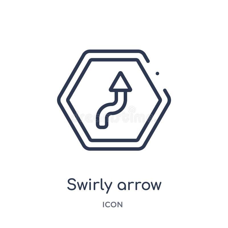 swirly flecha que señala el icono ascendente de la colección del esquema de la interfaz de usuario Línea fina swirly flecha que s libre illustration
