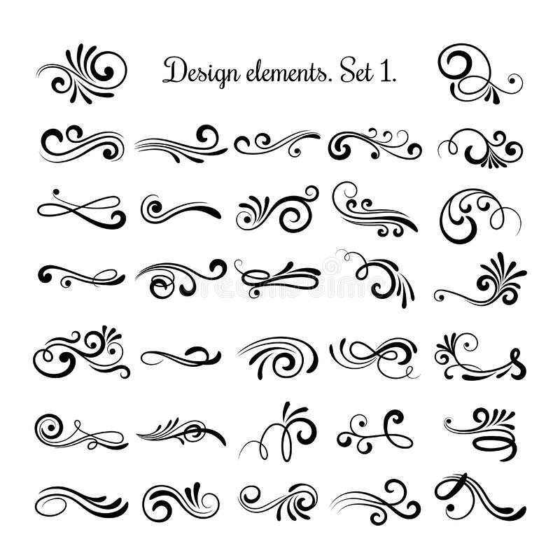 Swirly line curl patterns isolated on white background. Vector flourish vintage embellishments for greeting cards stock illustration