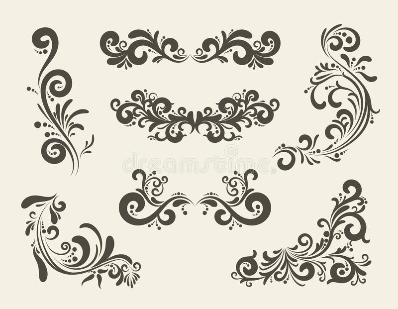 Swirly linii kędzioru wzory ilustracja wektor