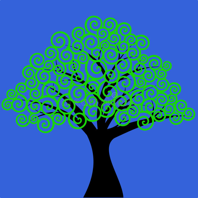 Swirly modeló el árbol ilustración del vector