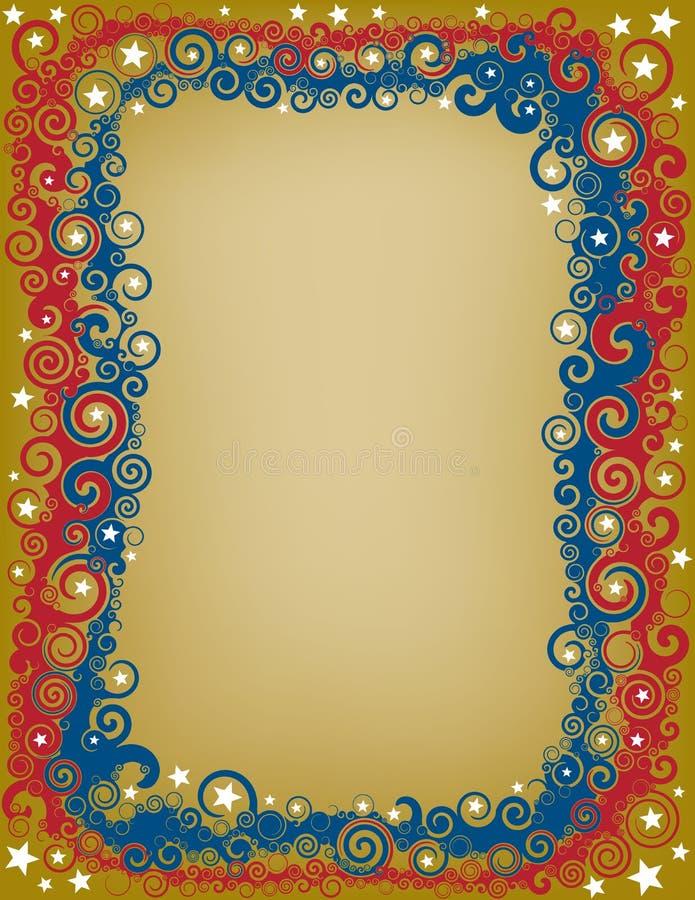 Swirly Patriotic Border royalty free illustration
