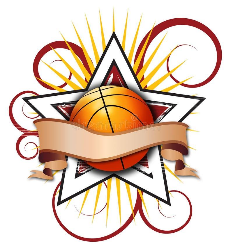 Swirly Star Basketball Illustration stock illustration