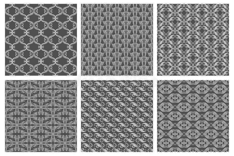 Swirly-Tapetenbeschaffenheiten Vektor Flourishmuster, Teppichhintergründe lizenzfreie abbildung